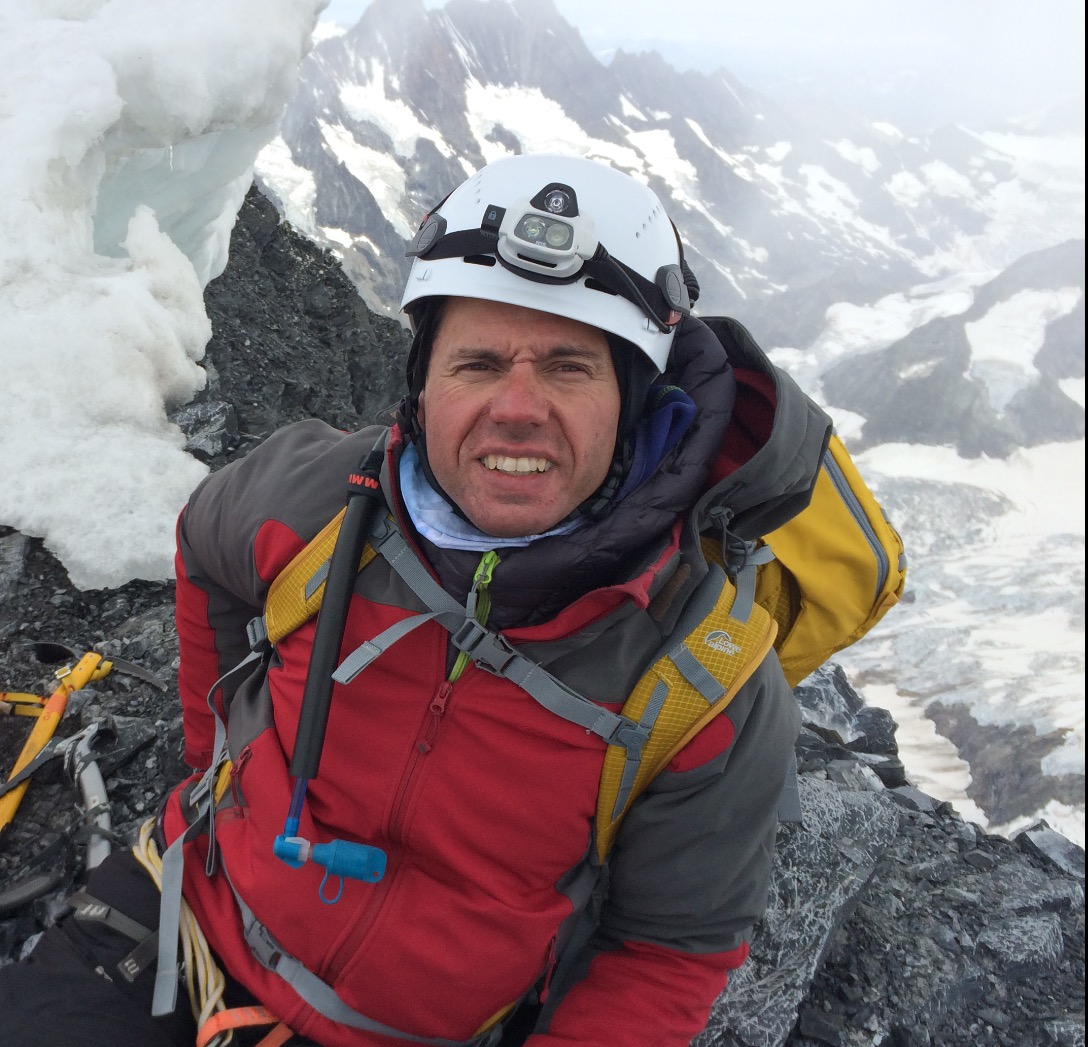John Churcher at the top of the Eiger