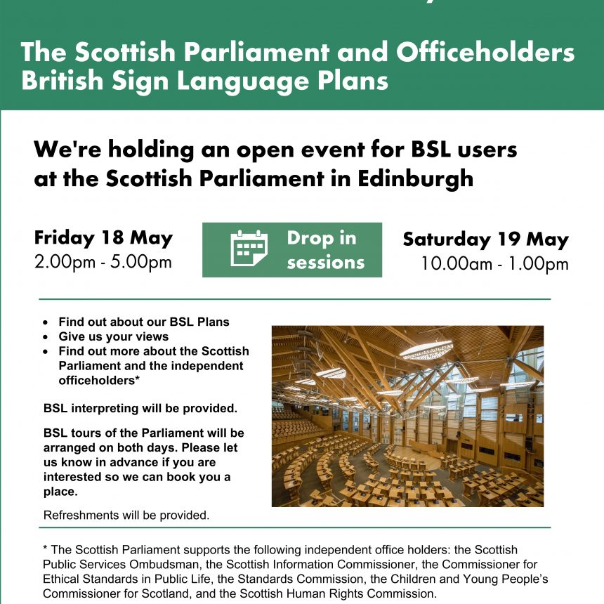 Open Event at Scottish Parliament for BSL users
